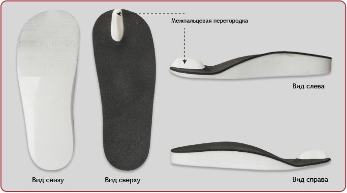 Стелька ортопедическая с межпальцевой перегородкой П-31